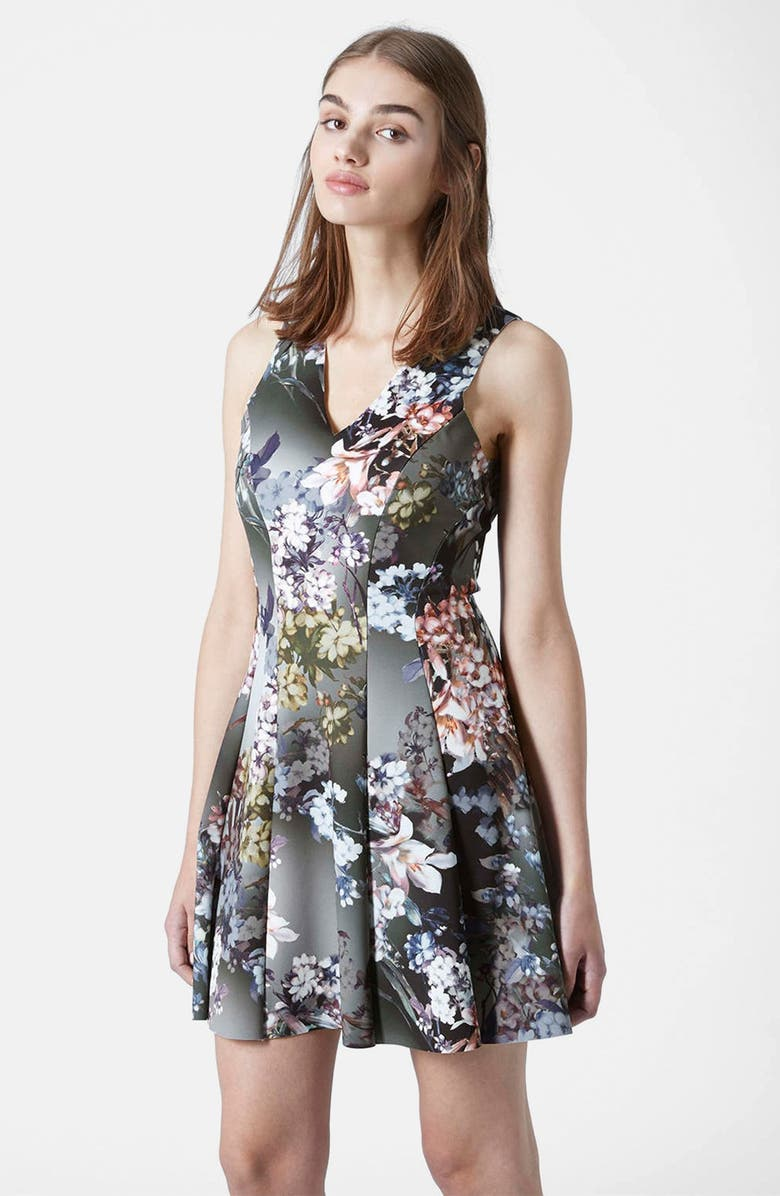 TOPSHOP Floral Print Dress, Main, color, 001