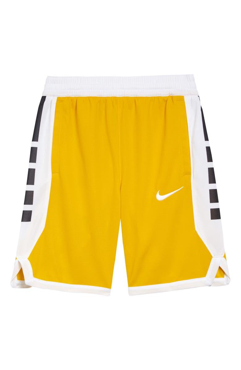 NIKE Dry Elite Basketball Shorts, Main, color, SPEED YELLOW/ WHITE