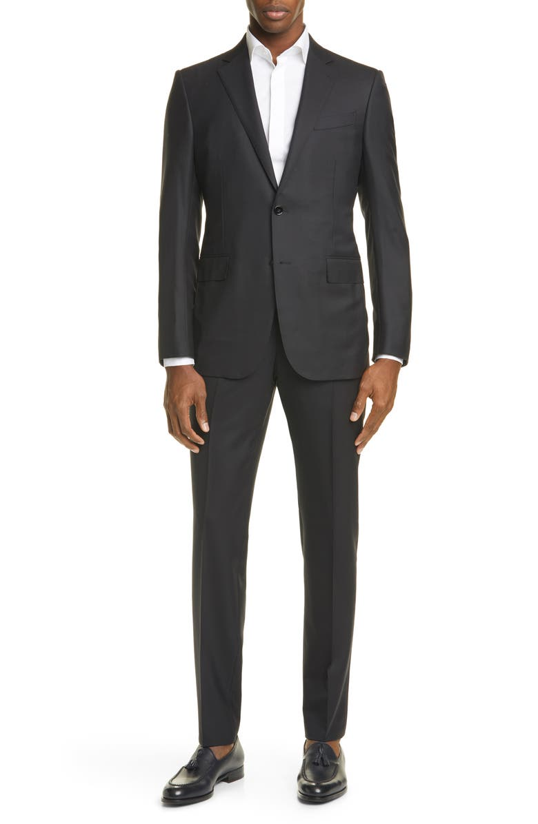 ERMENEGILDO ZEGNA Milano Classic Fit Solid Wool Suit, Main, color, BLACK