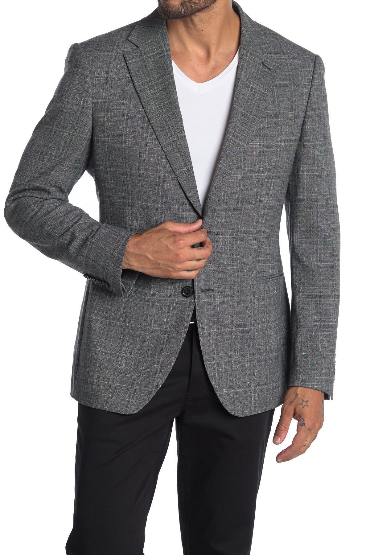 Image of REISS Lafite Grey Plaid Two Button Notch Lapel Modern Fit Suit Separates Blazer