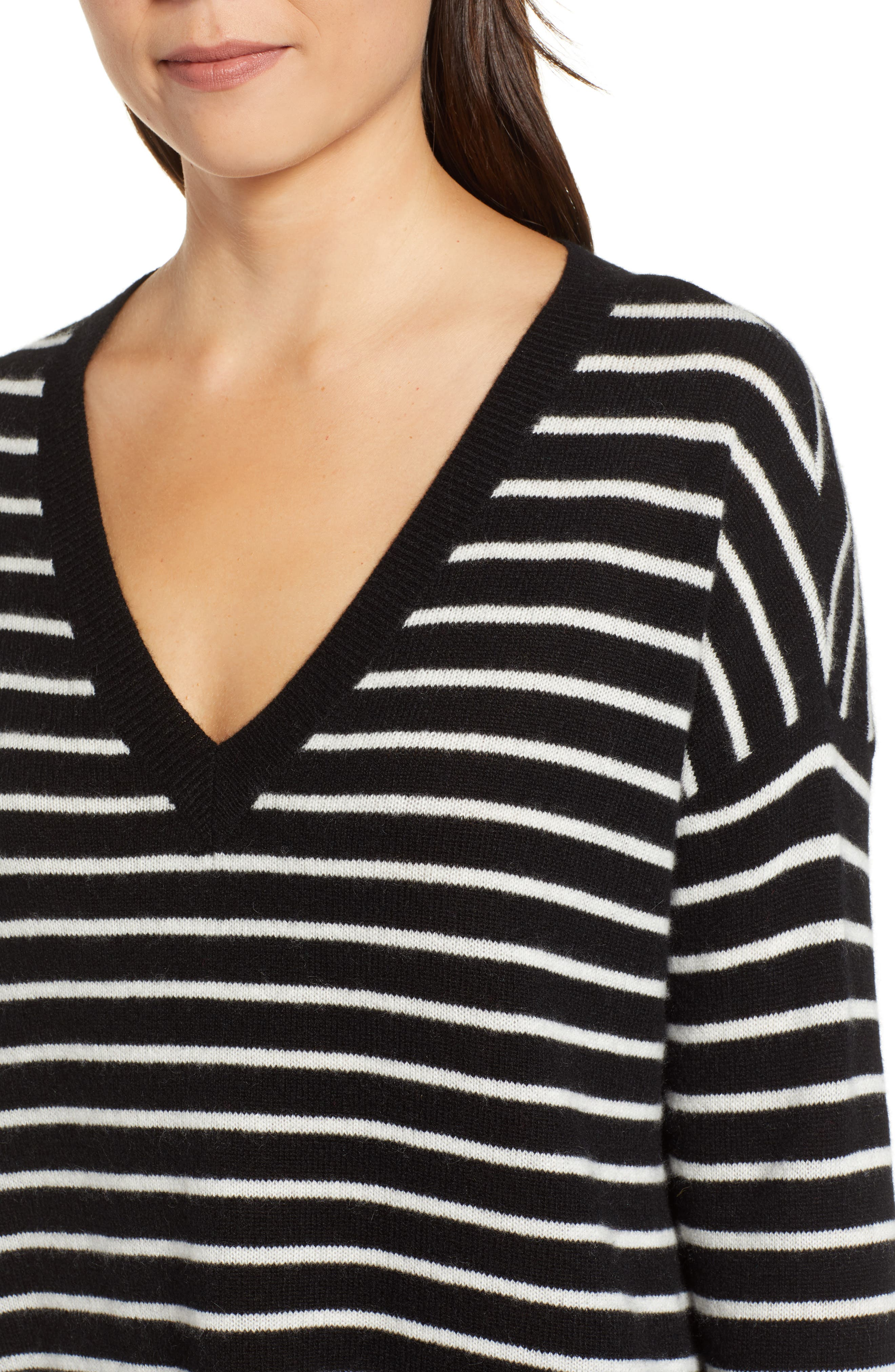 ,                             Relaxed V-Neck Cashmere Sweater,                             Alternate thumbnail 18, color,                             002
