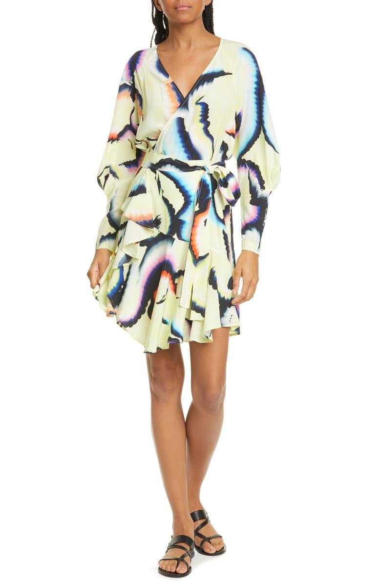 A.L.C. Enzo Long Sleeve Stretch Silk Wrap Dress, Main, color, 720