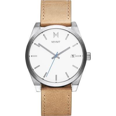 Mvmt Element Leather Strap Watch, 4m