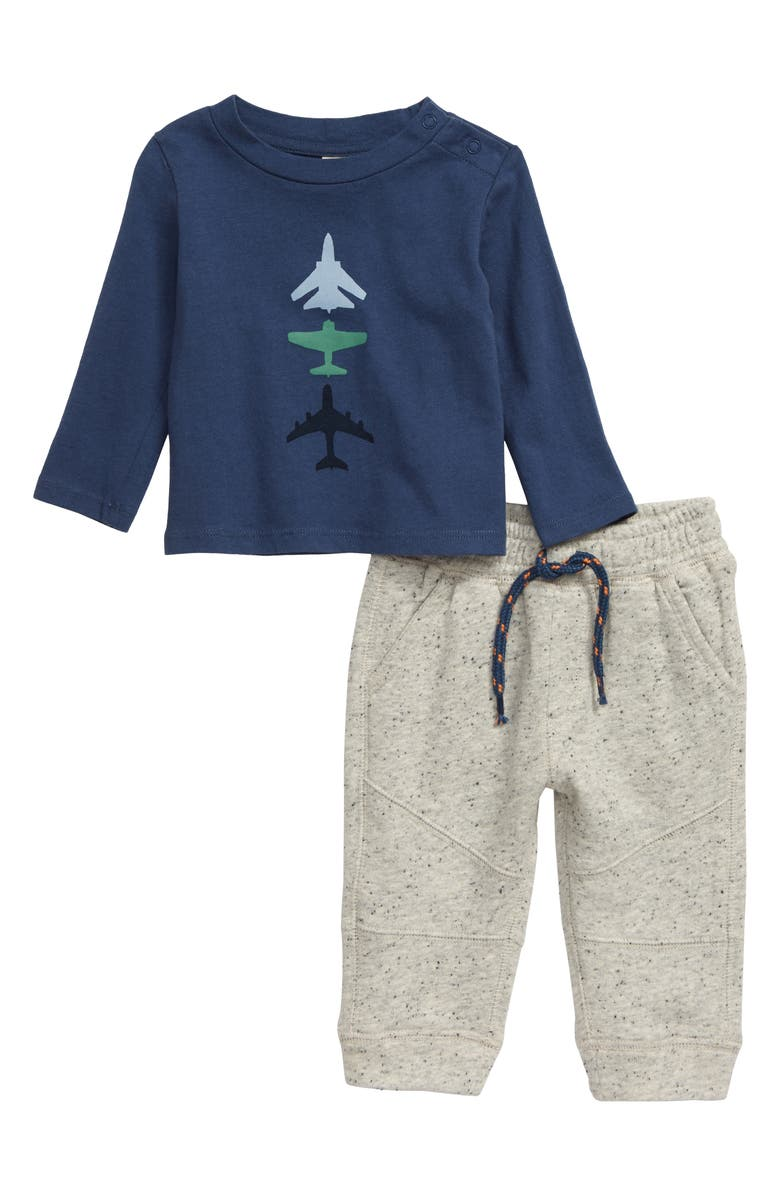 TUCKER + TATE Airplane Graphic T-Shirt & Jogger Pants Set, Main, color, NAVY DENIM CHILL