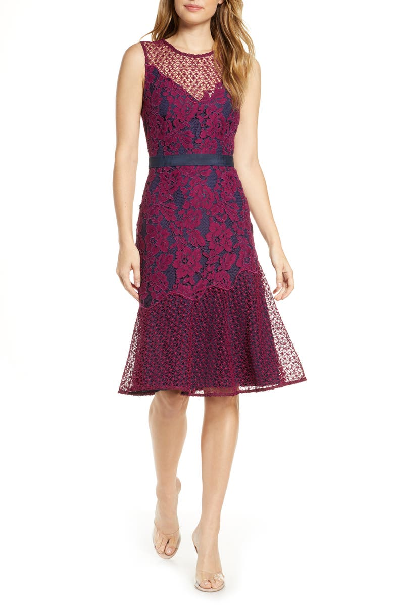 ADELYN RAE Sonya Floral Lace Cocktail Dress, Main, color, BOYSENBERRY-NAVY