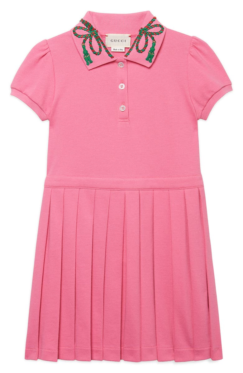GUCCI Short Sleeve Pleated Dress, Main, color, ORTENSIA