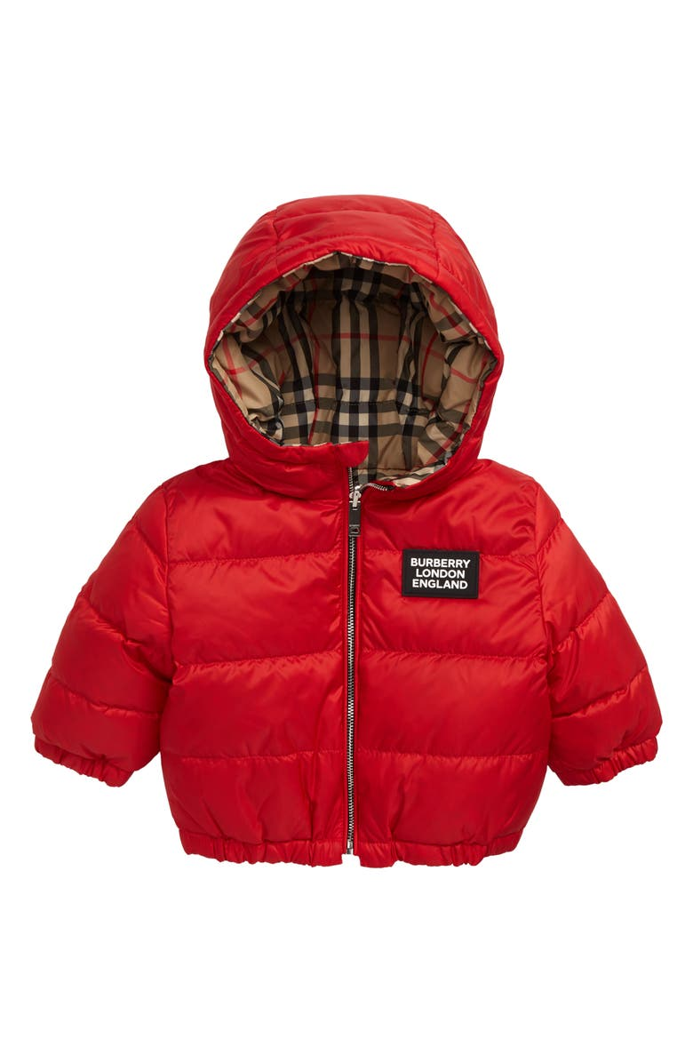 BURBERRY Rayan Reversible Hooded Down Jacket, Main, color, BRIGHT RED