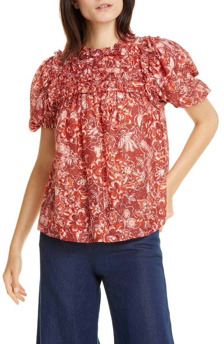 ULLA JOHNSON Klea Ruffle Floral Top, Main, color, CORAL