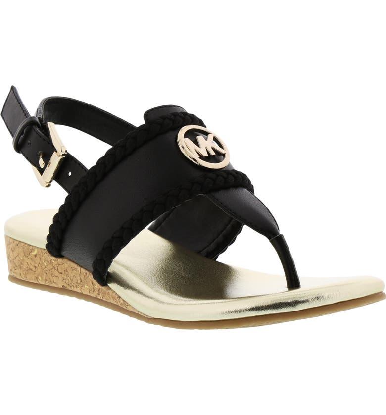 MICHAEL MICHAEL KORS Perry Discover Metallic Thong Sandal, Main, color, BLACK