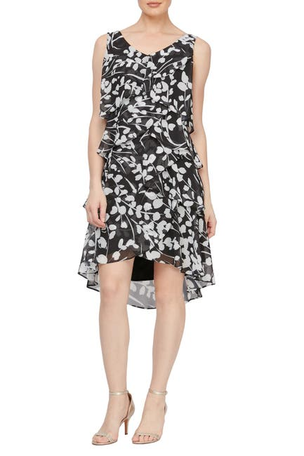 Image of SLNY Floral Tiered High/Low Dress