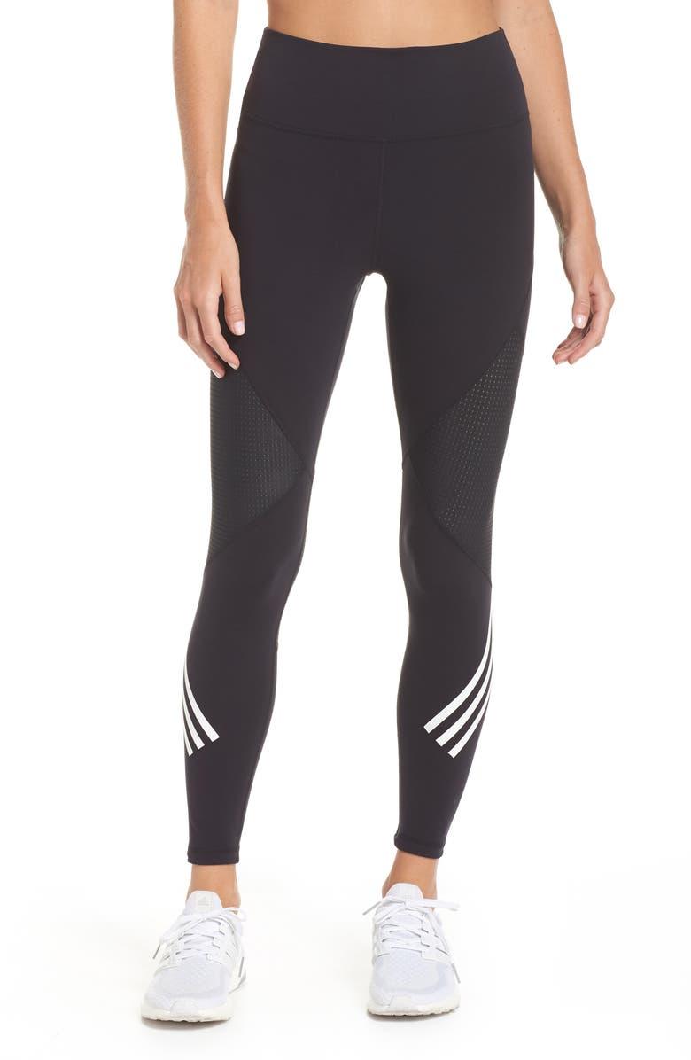 ADIDAS Believe This High Waist 7/8 Tights, Main, color, BLACK/ WHITE