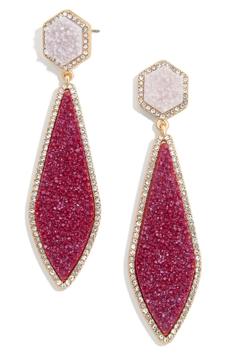 BAUBLEBAR Surboard Imitation Drusy Drop Earrings, Main, color, PINK