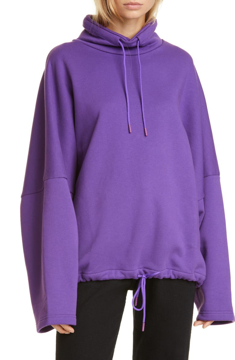 MARTINE ROSE Batwing Oversized Drawcord Sweatshirt, Main, color, PURPLE