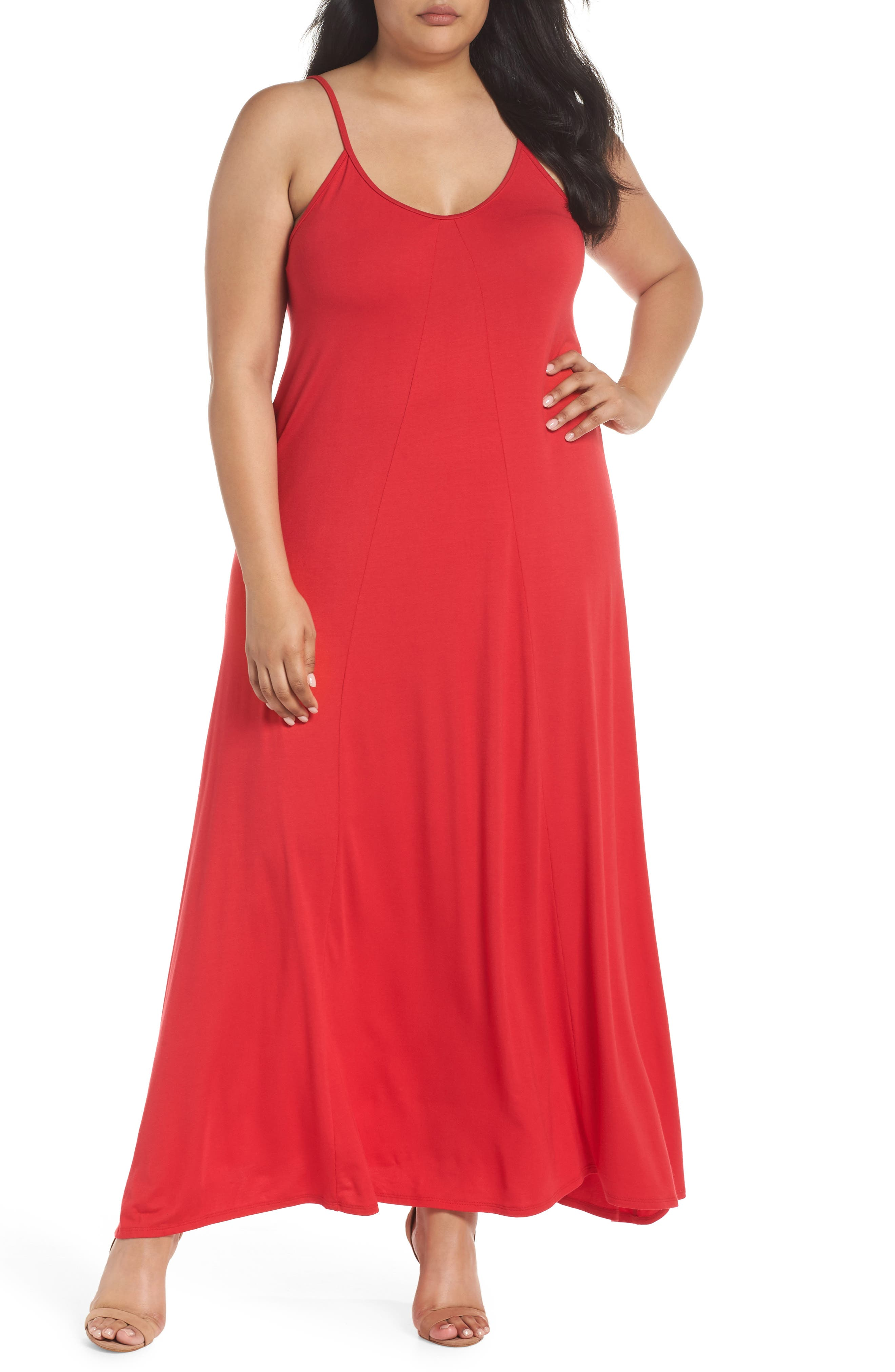 Plus Size Loveappella A-Line Maxi Dress, Red