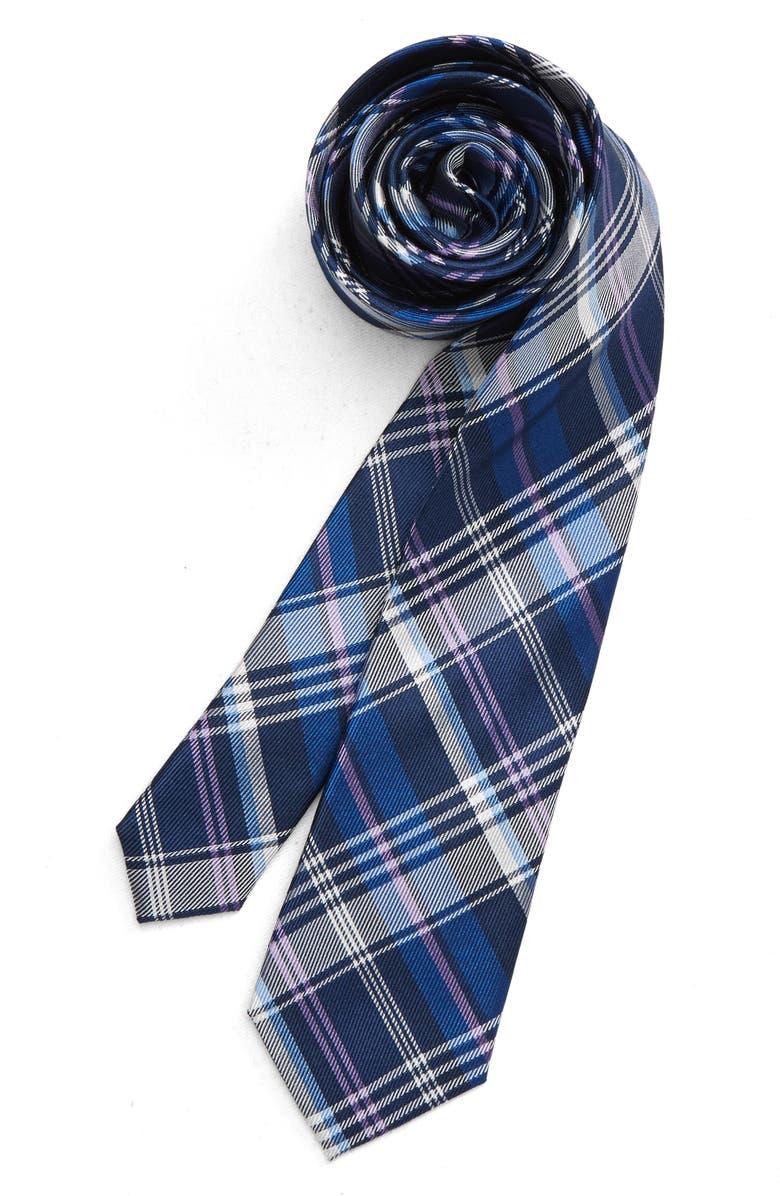 MICHAEL KORS Plaid Silk Tie, Main, color, 410