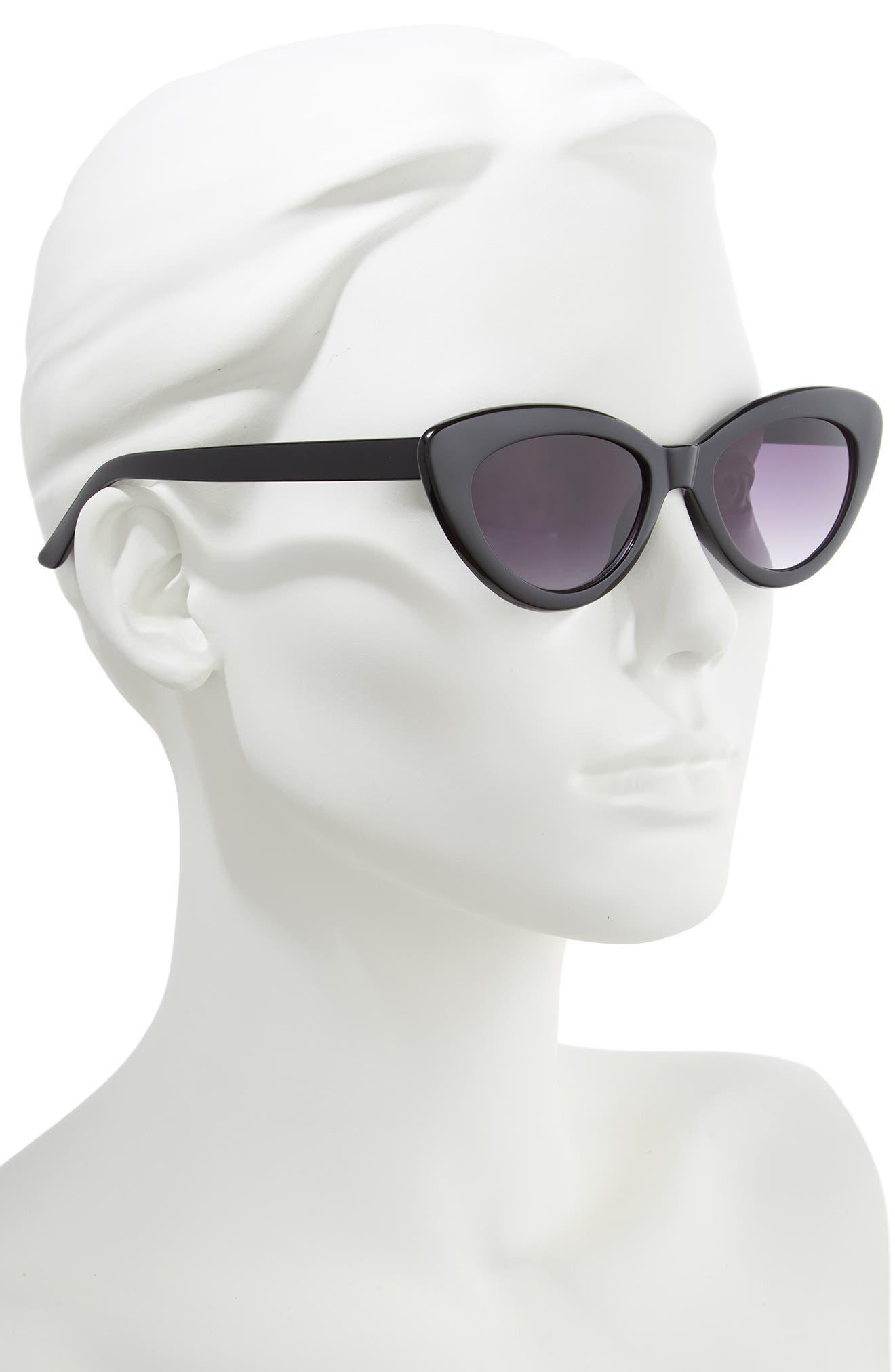 ,                             51mm Cat Eye Sunglasses,                             Alternate thumbnail 2, color,                             BLACK