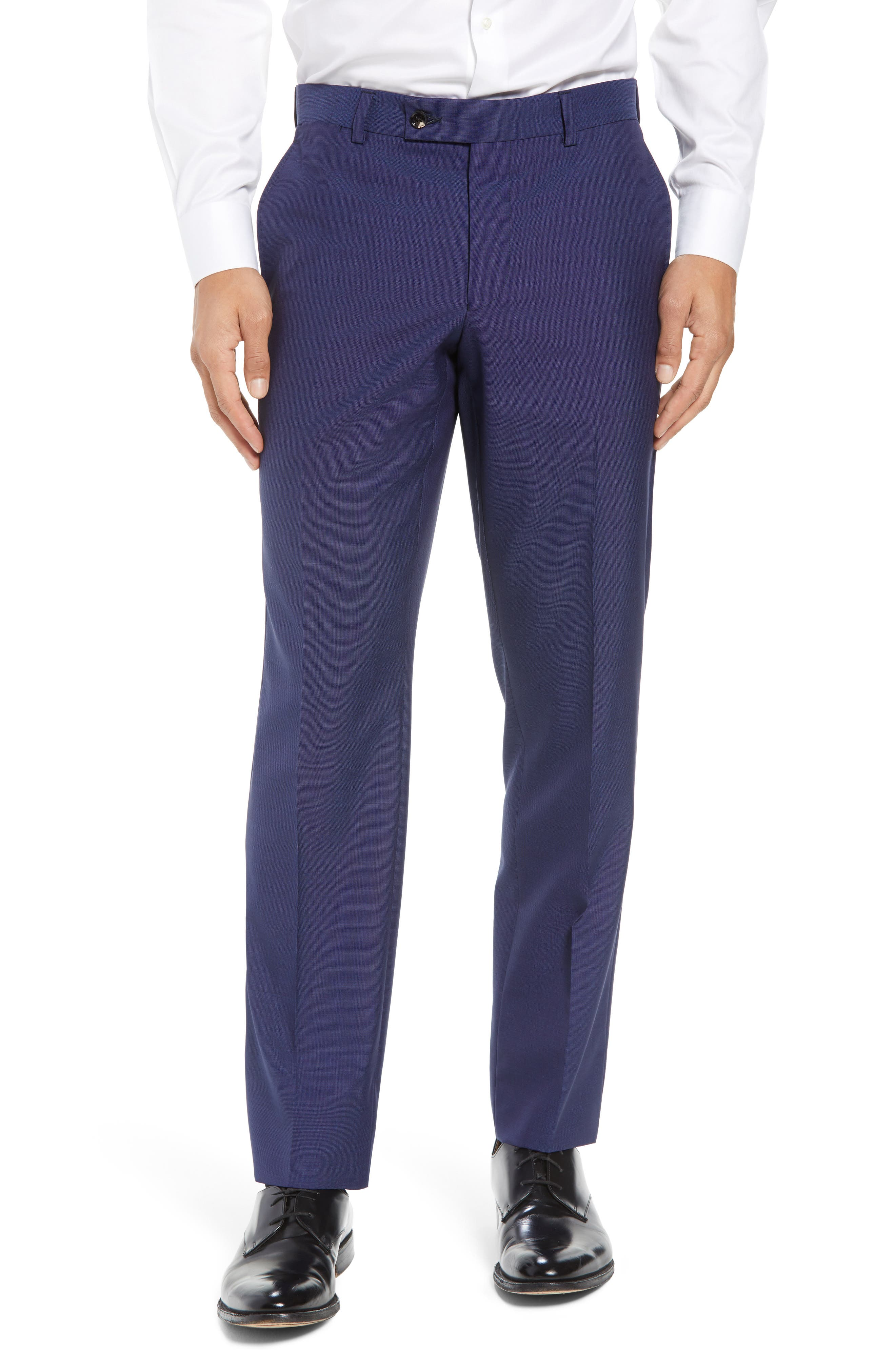 Jefferson Flat Front Solid Wool Trousers, Main, color, BLUE