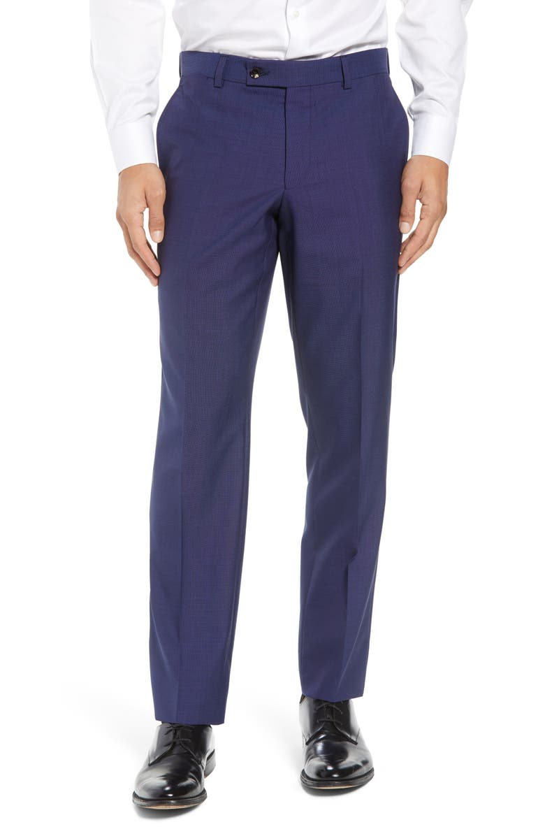 TED BAKER LONDON Jefferson Flat Front Solid Wool Dress Pants, Main, color, BLUE