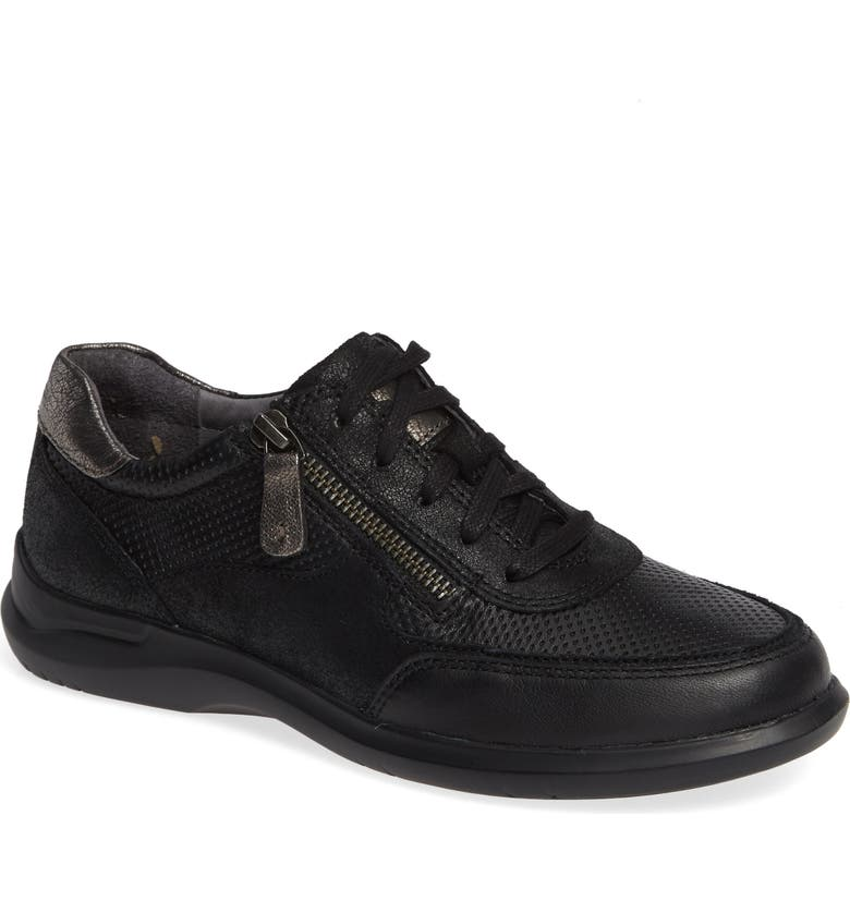 ARAVON Power Comfort Tie Sneaker, Main, color, BLACK LEATHER