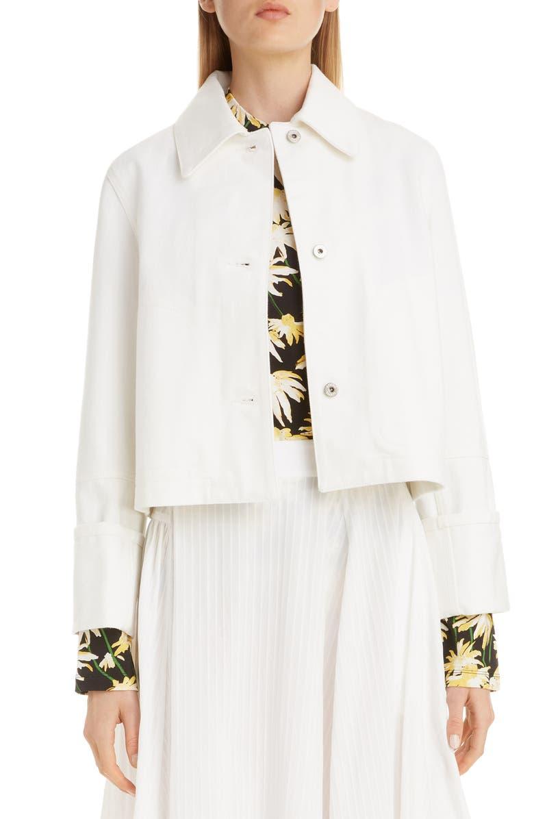 LOEWE Crop Denim Jacket, Main, color, WHITE