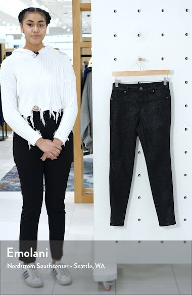 Snake Embossed High Waist Ankle Skinny Jeans, sales video thumbnail