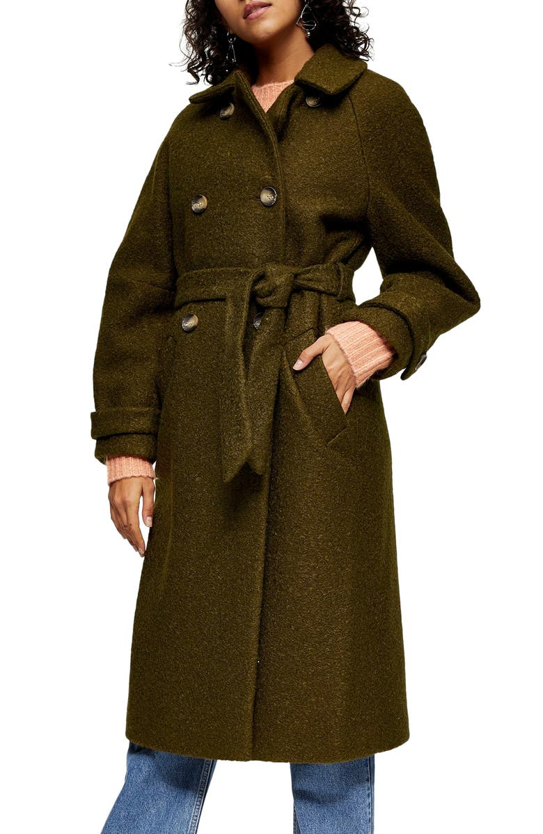 TOPSHOP Arin Bouclé Trench Coat, Main, color, OLIVE