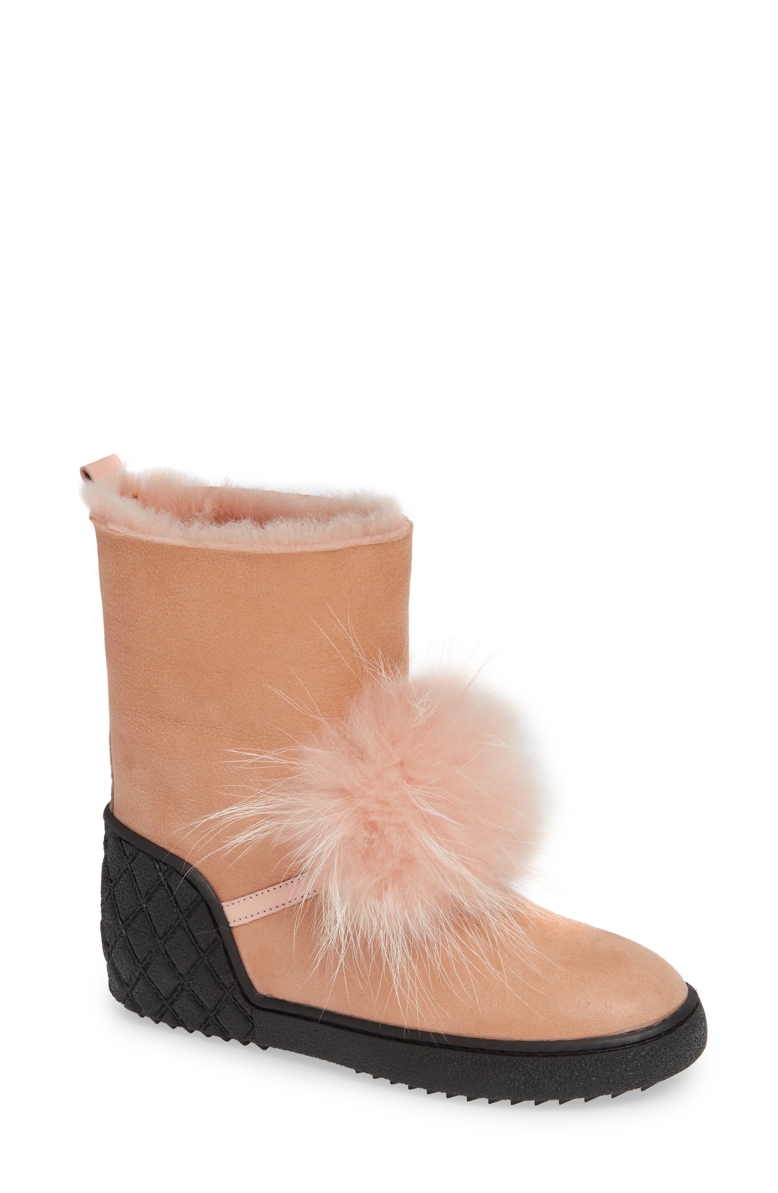 Sheridan Mia Toto Genuine Fox Fur Bootie, Pink