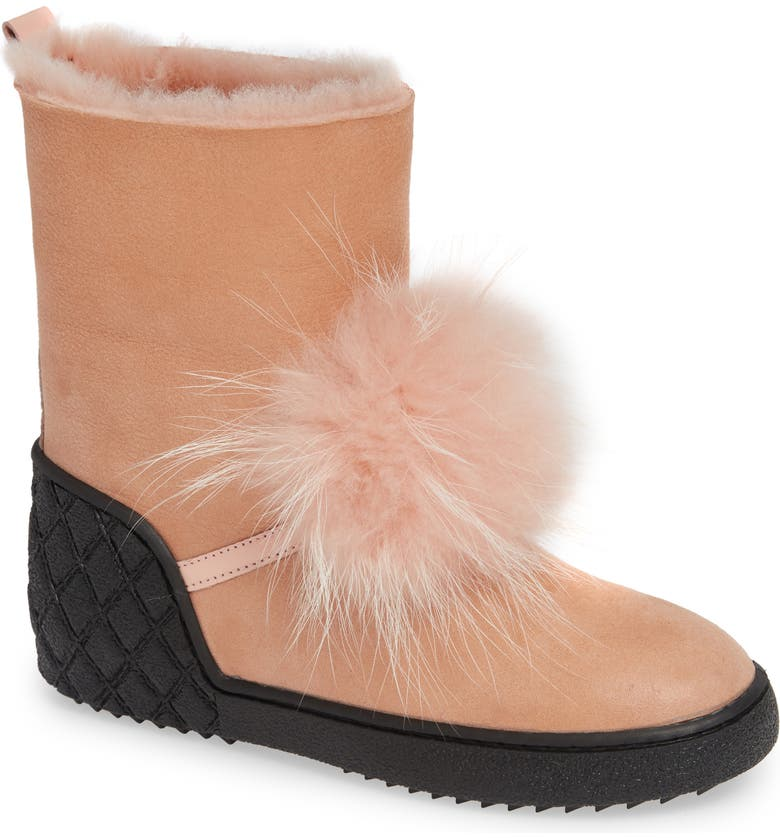 SHERIDAN MIA Toto Genuine Fox Fur Bootie, Main, color, BLUSH