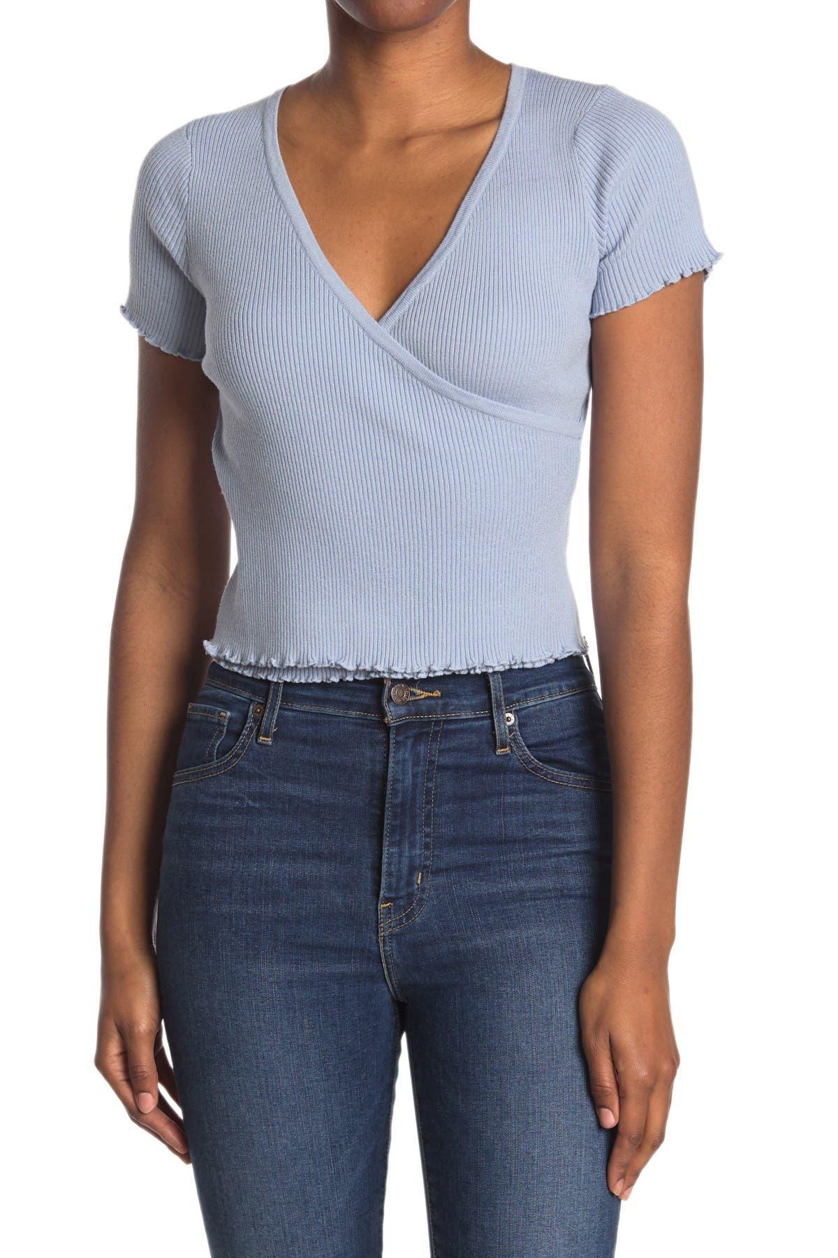Image of Lush Surplice Short Sleeve Ribbed Crop Top