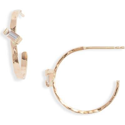 Poppy Finch Slanted Baguette Hoop Earrings