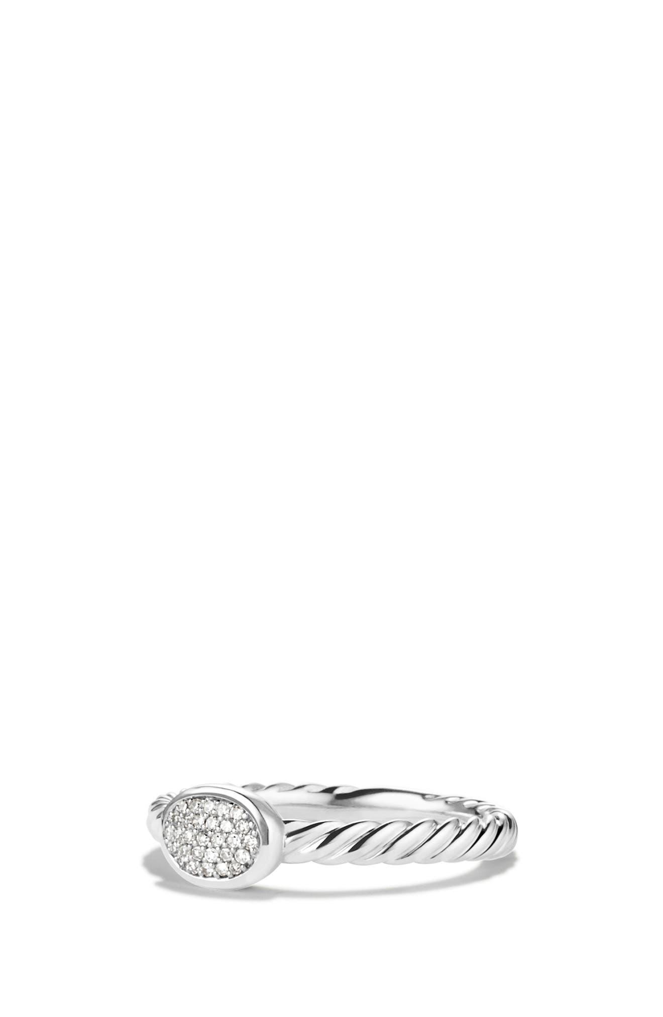 Petite Pavé Oval Ring with Diamonds, Main, color, DIAMOND