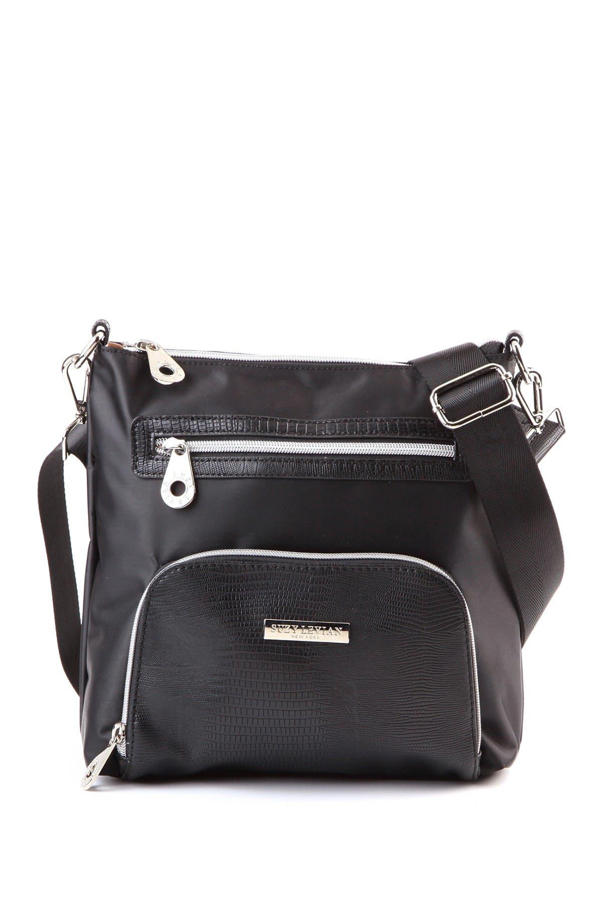 Image of Suzy Levian Nylon Crocodile Embossed Front Pocket Crossbody Bag