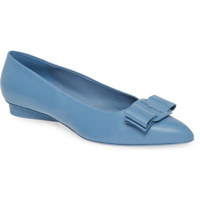 Salvatore Ferragamo Viva Bow Ballet Flat - Blue