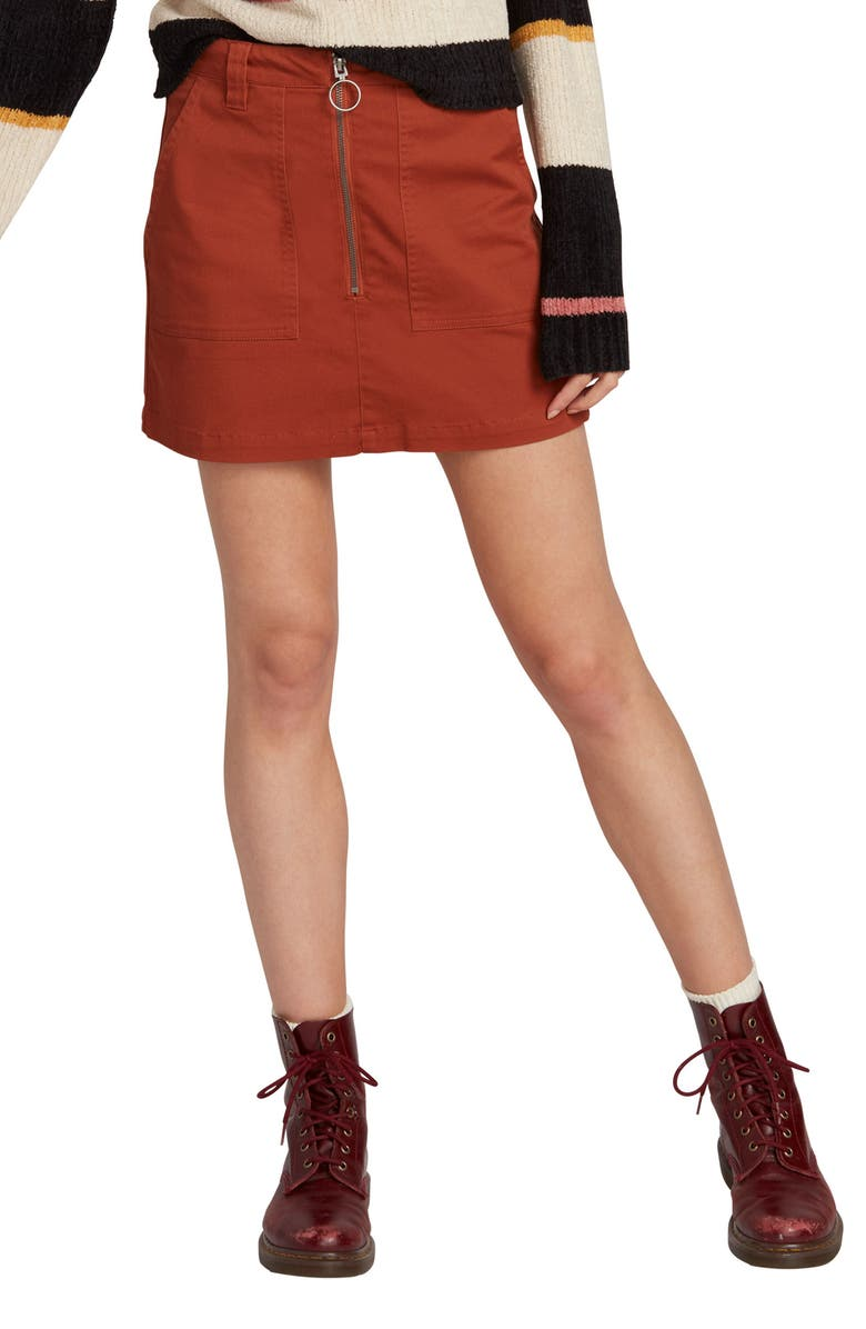 VOLCOM Frochickie Miniskirt, Main, color, RUST