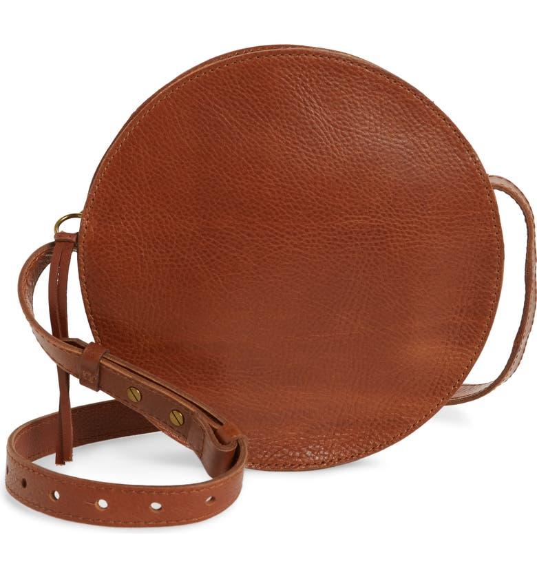 MADEWELL The Simple Circle Leather Crossbody Bag, Main, color, ENGLISH SADDLE