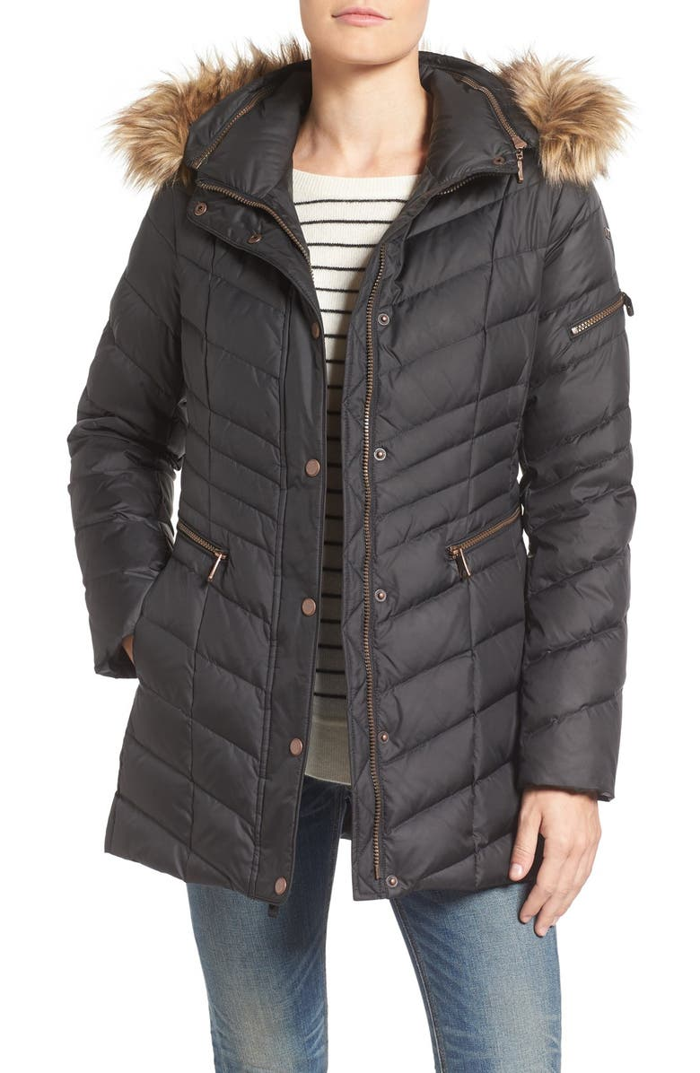31c2c449e Marc New York by Andrew Marc Quilted Down Jacket with Faux Fur Trim