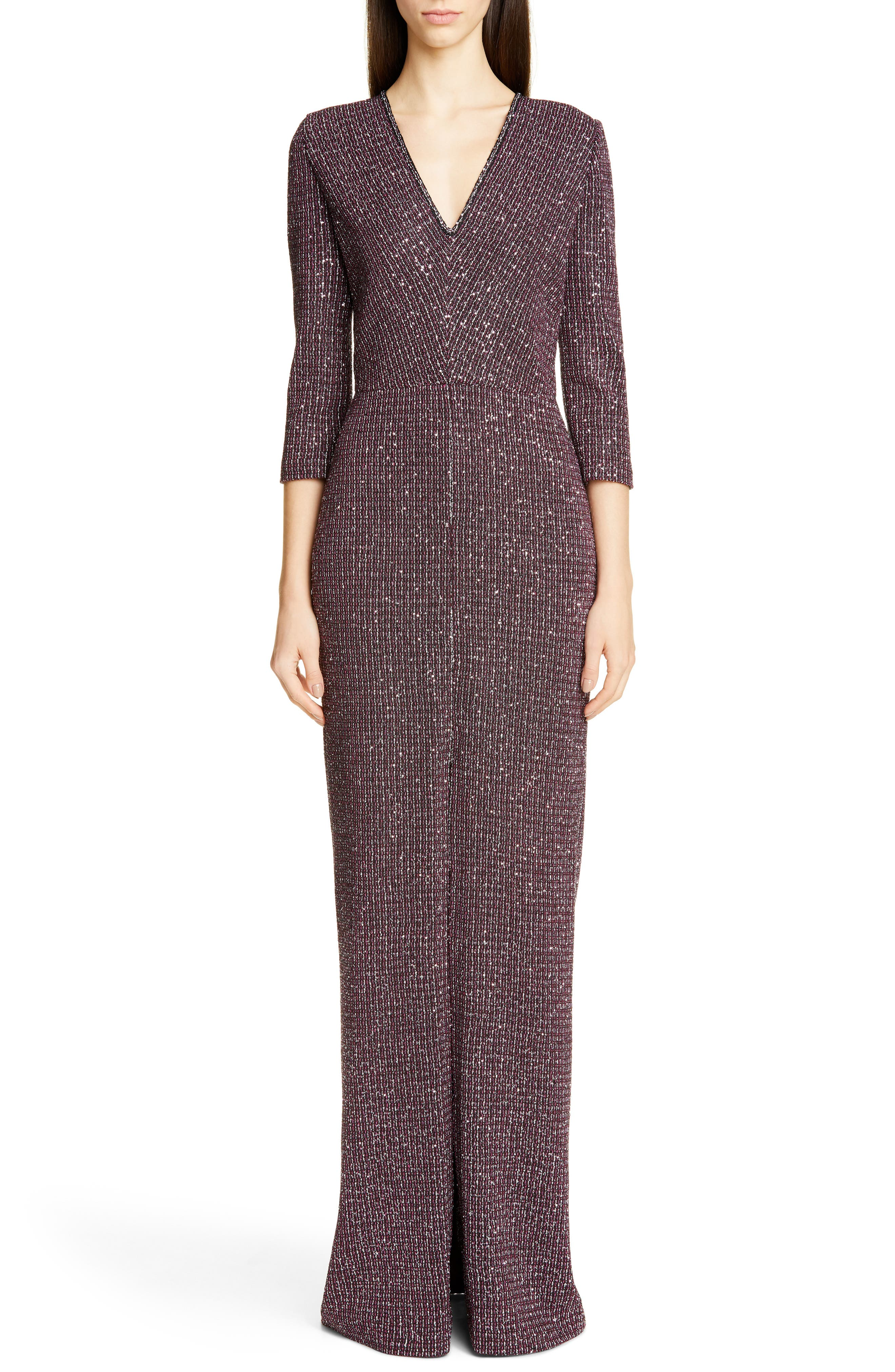 St. John Collection Sequin Tweed Knit Evening Gown, Purple