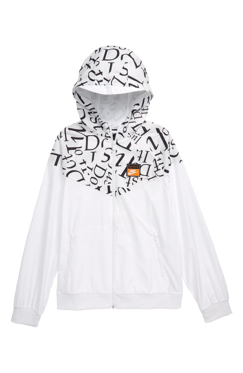 NIKE Sportswear Just Do It Water Resistant Hooded Windrunner Jacket, Main, color, WHITE