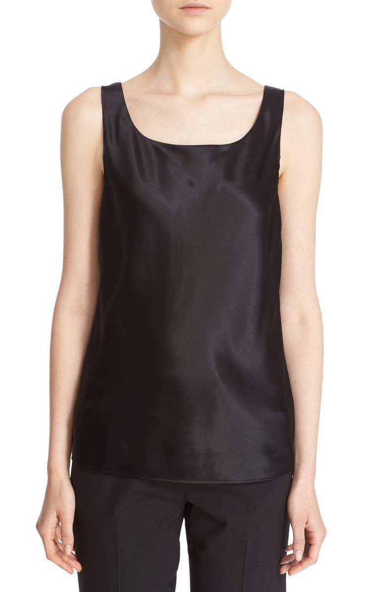 LAFAYETTE 148 NEW YORK Silk Charmeuse Tank, Main, color, 001