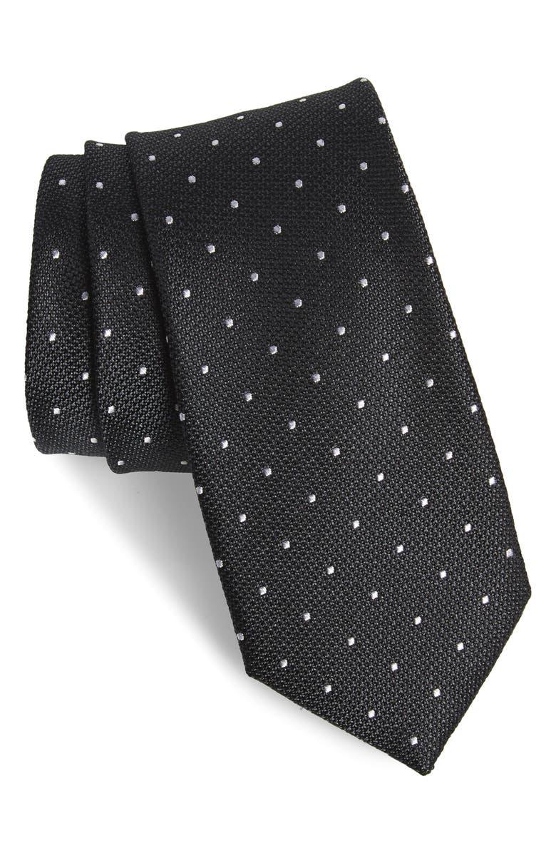 NORDSTROM MEN'S SHOP Saskia Dot Silk Tie, Main, color, BLACK