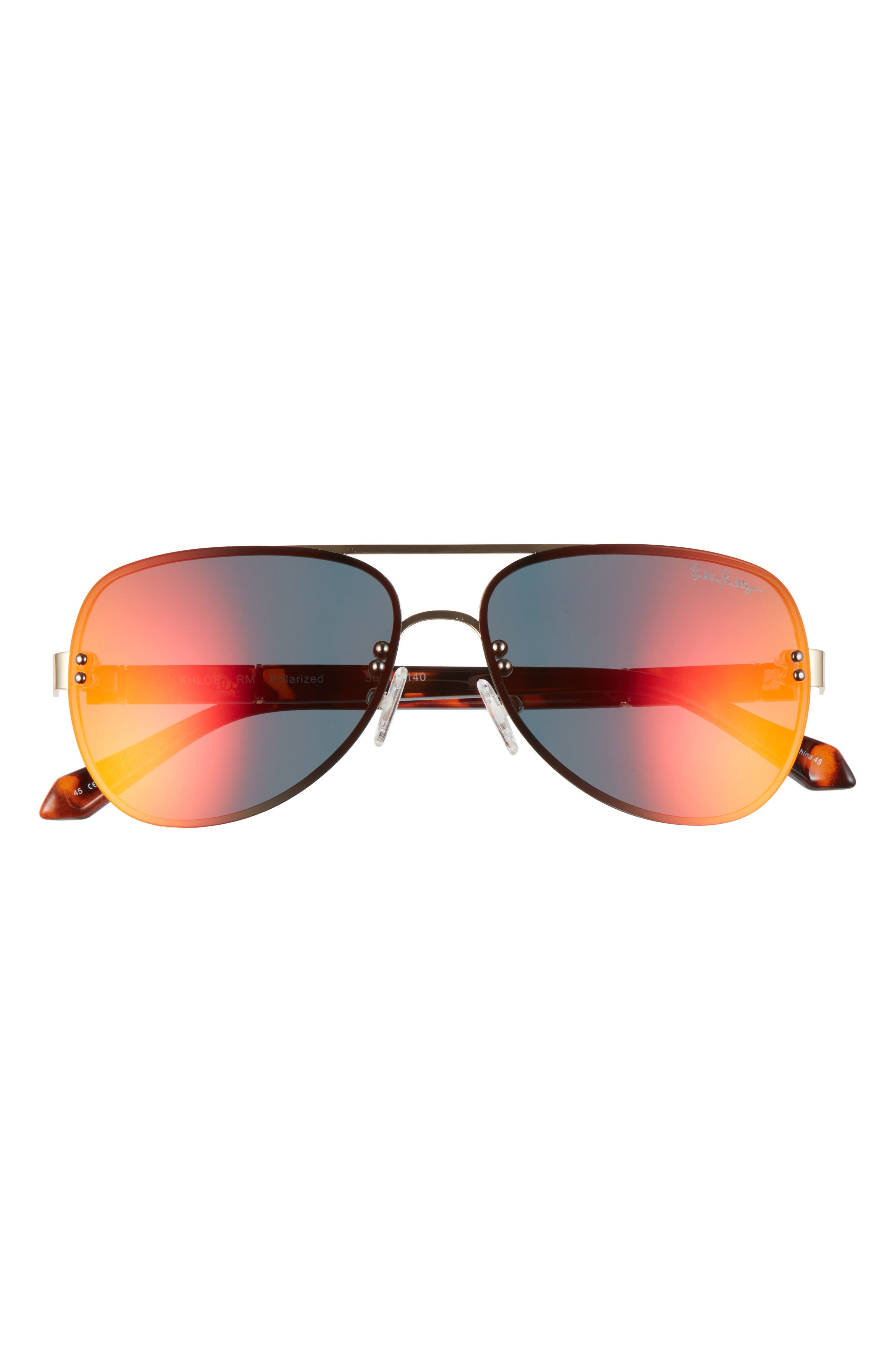 Elevate your style with the classic look of these full-coverage aviator sunglassess furnished with glare-reducing polarized lenses. Style Name: Lilly Pulitzer Khloe 58mm Polarized Aviator Sunglasses. Style Number: 6104397. Available in stores.