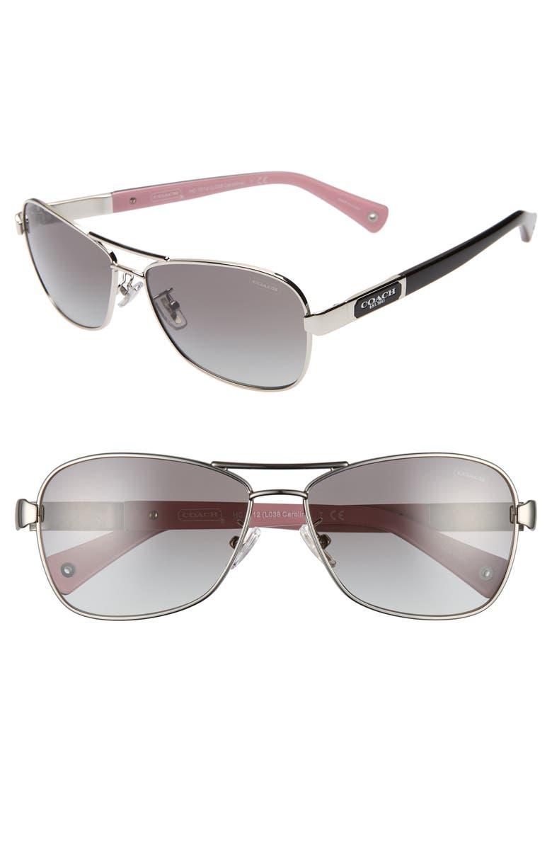 COACH Caroline 56mm Gradient Aviator Sunglasses, Main, color, 040