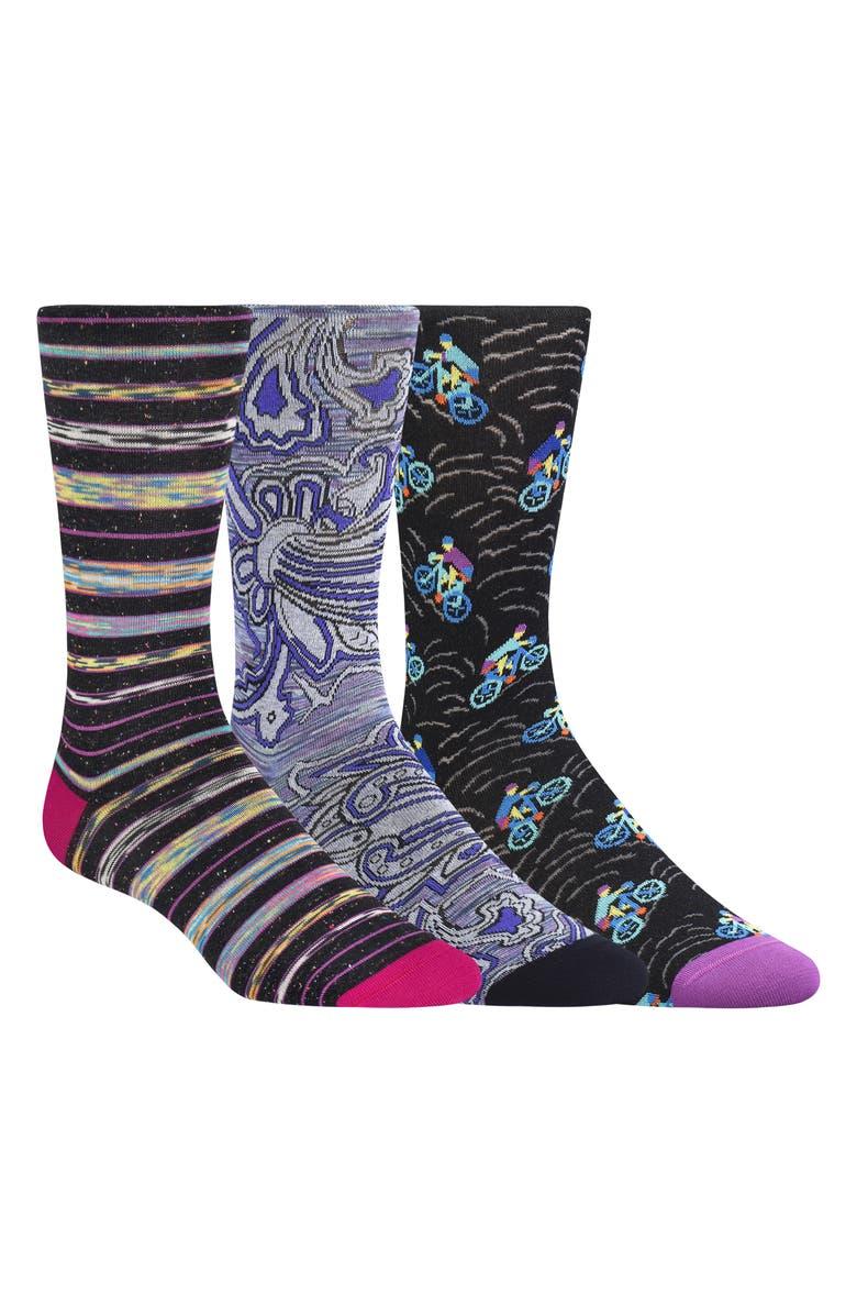 BUGATCHI 3-Pack Sock Gift Set, Main, color, BLACK