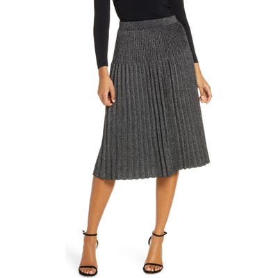 Eliza J Pleated Knit Midi Skirt, Grey