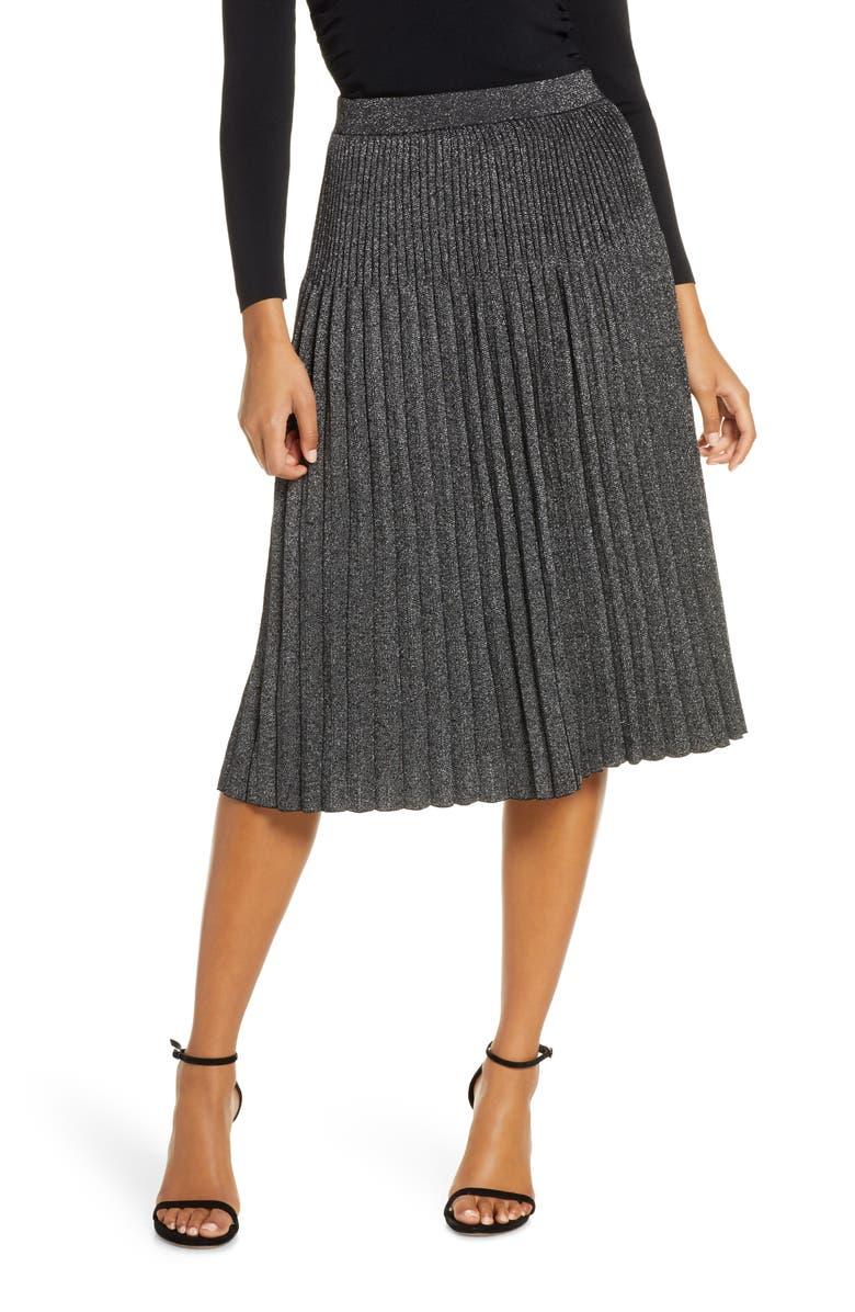 ELIZA J Pleated Knit Midi Skirt, Main, color, GREY