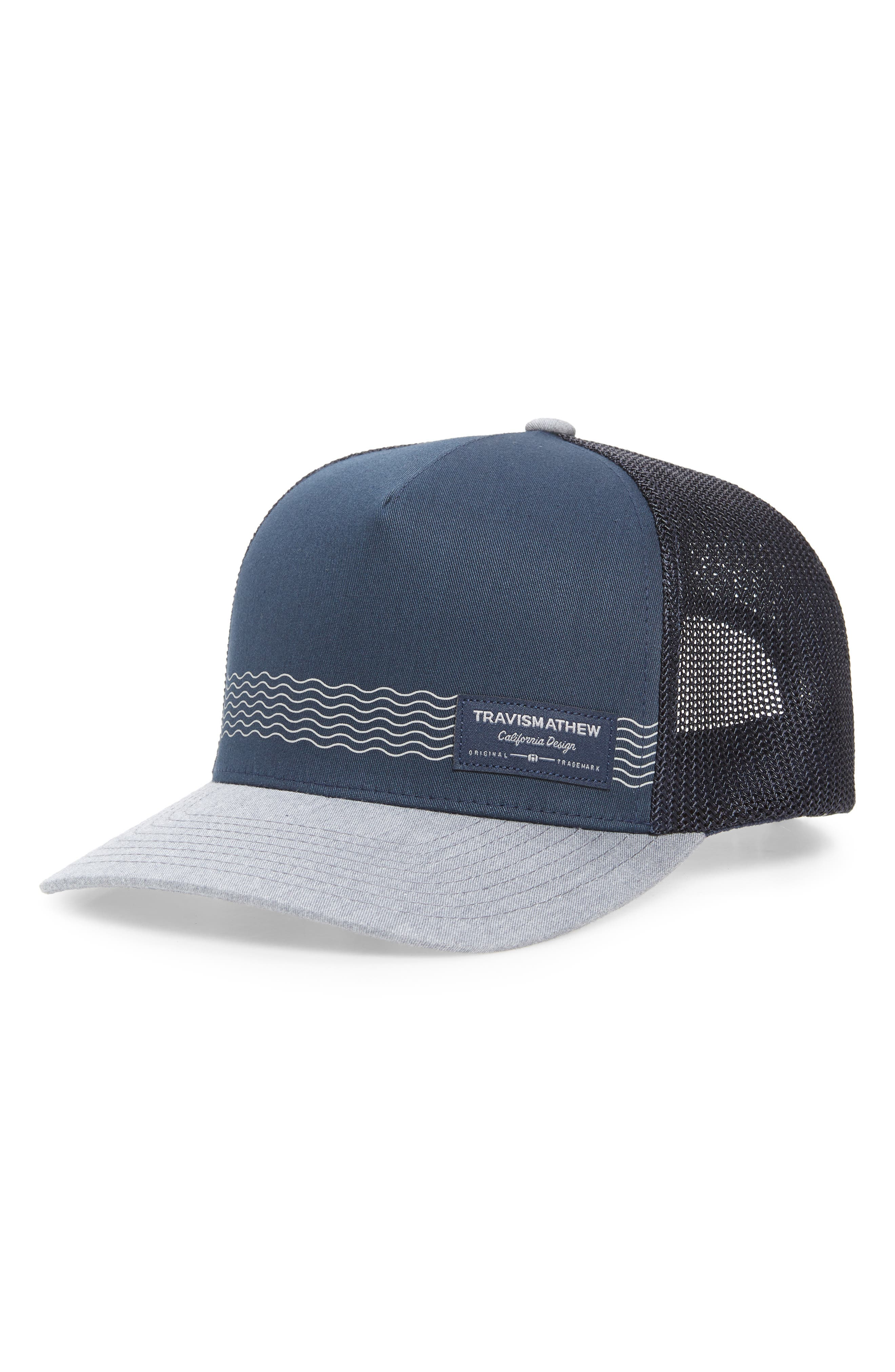 An easy, breezy vibe defines a hat with cool mesh panels for comfort. Style Name: Travismathew Culebra Trucker Hat. Style Number: 6127840. Available in stores.