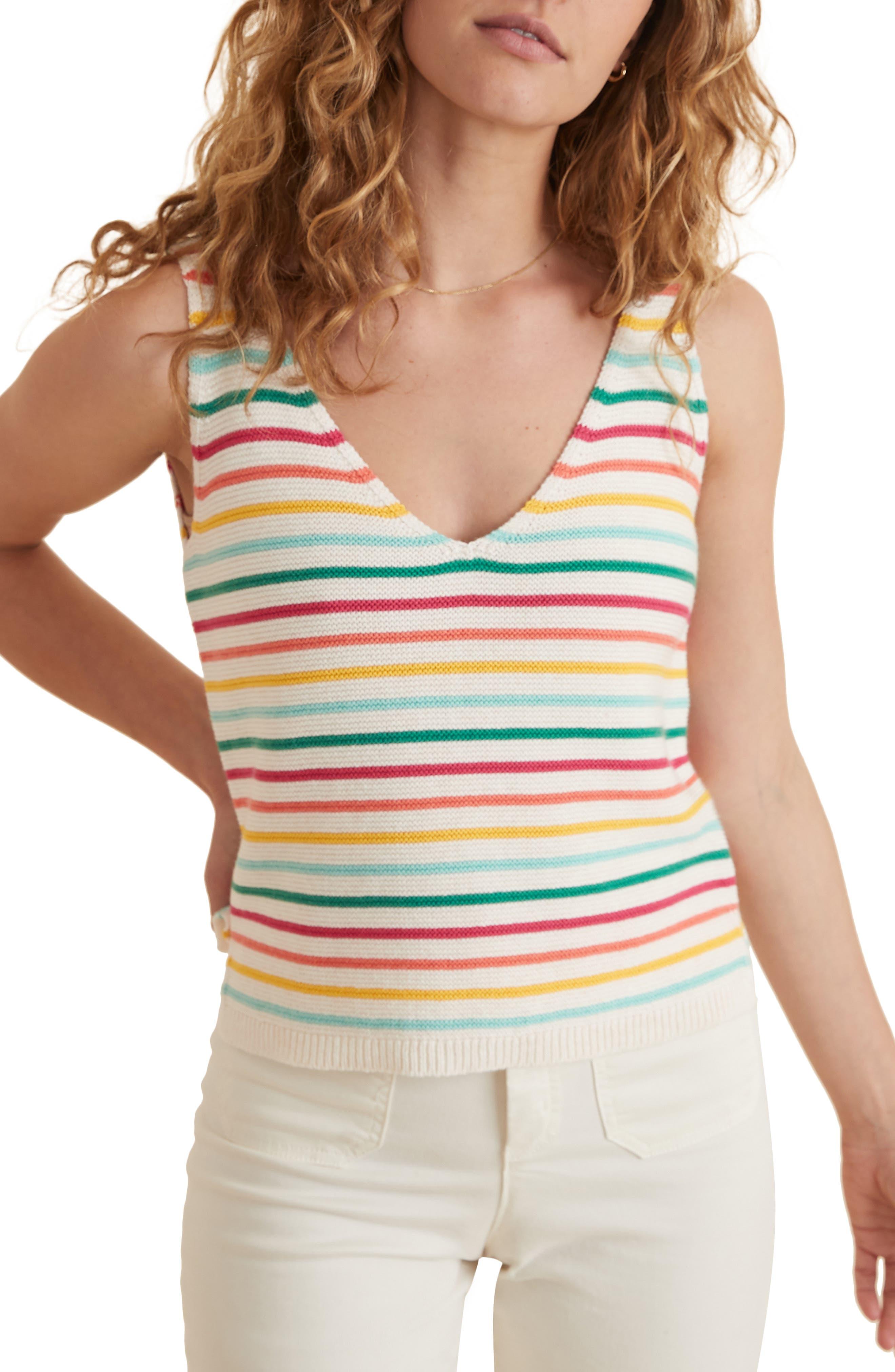 Finley Stripe Cotton Tank Sweater