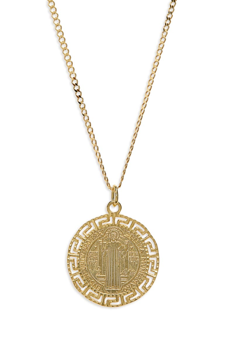 ARGENTO VIVO STERLING SILVER Argento Vivo Antique Coin Sterling Medallion Necklace, Main, color, GOLD