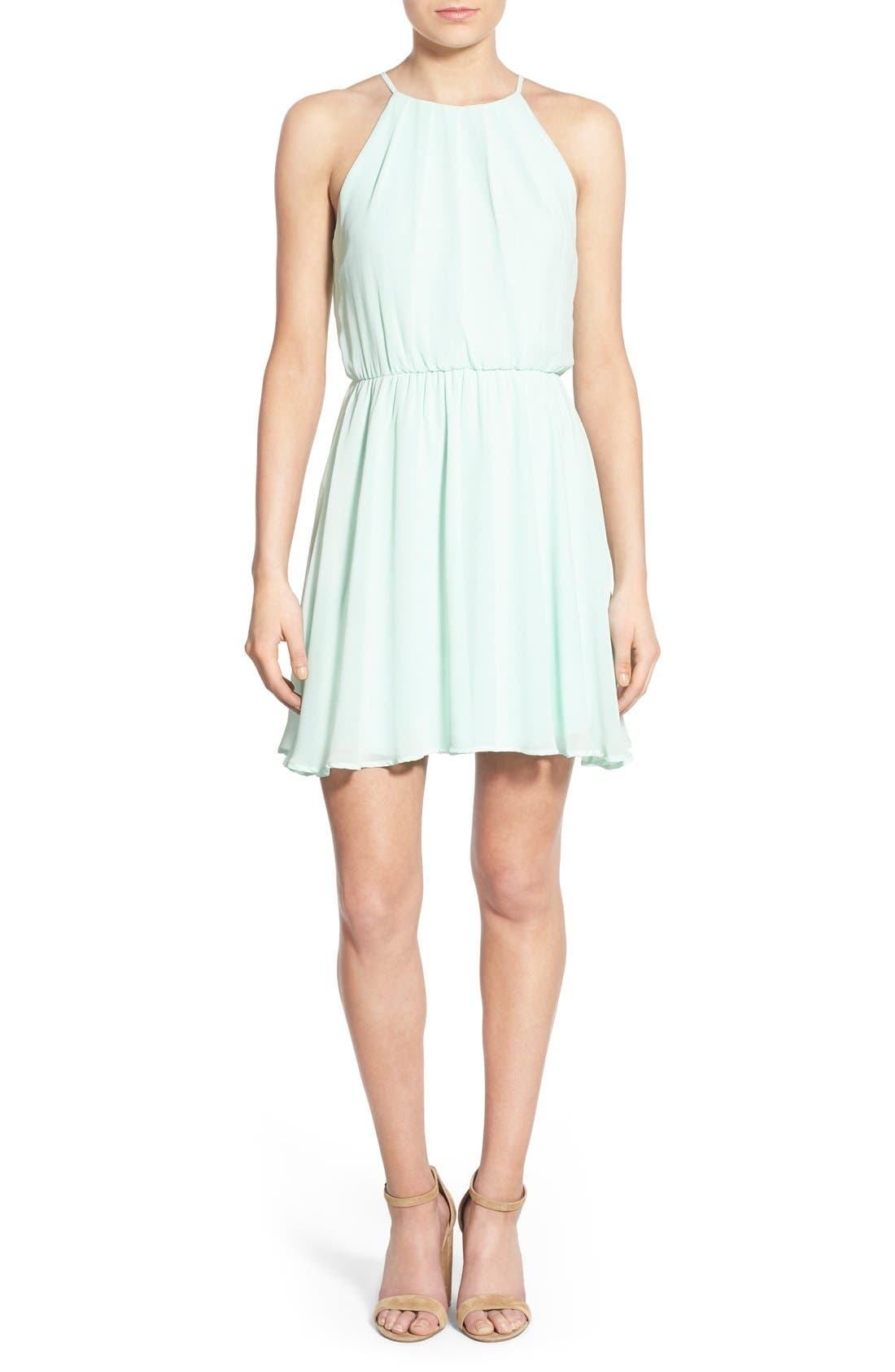 ,                             Blouson Chiffon Skater Dress,                             Main thumbnail 147, color,                             436