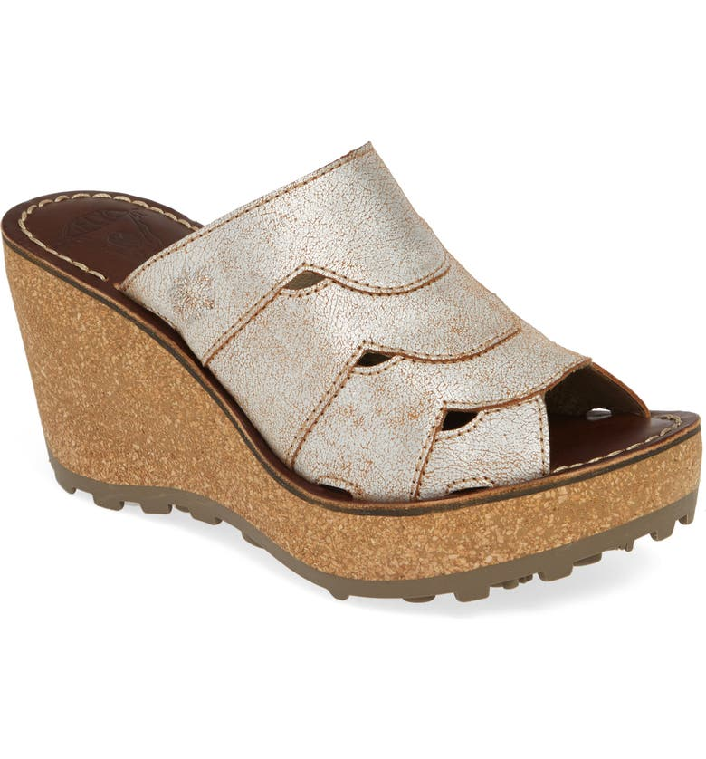 FLY LONDON Gaxi Wedge Slide Sandal, Main, color, PEARL LEATHER